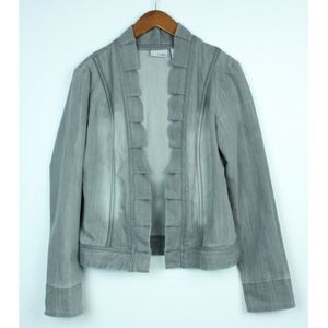 Chicos Platinum Open denim Pleated edge Jacket